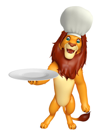 non uniform: 3d rendered illustration of Lion cartoon character with chef hat and dinner plate