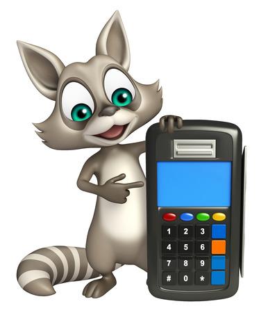 swipe: 3d rendered illustration of Raccoon cartoon character with swipe machine