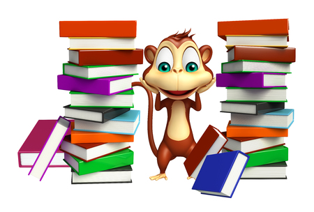 mammalia: 3d rendered illustration of Monkey cartoon character with book Stock Photo