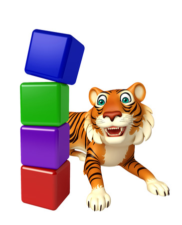 mammalia: 3d rendered illustration of Tiger cartoon character with level sign