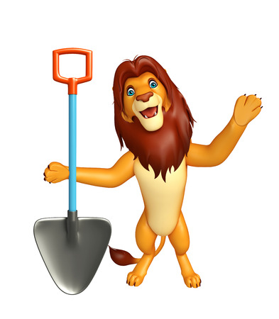 veg: 3d rendered illustration of Lion cartoon character with shovel