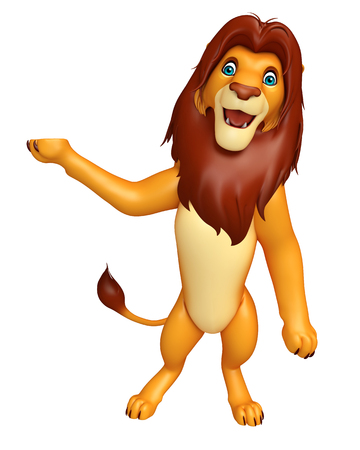 mammalia: 3d rendered illustration of pointing  Lion cartoon character