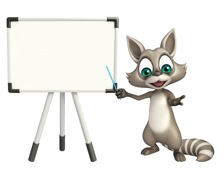 display board: 3d rendered illustration of Raccoon cartoon character with display  board Stock Photo