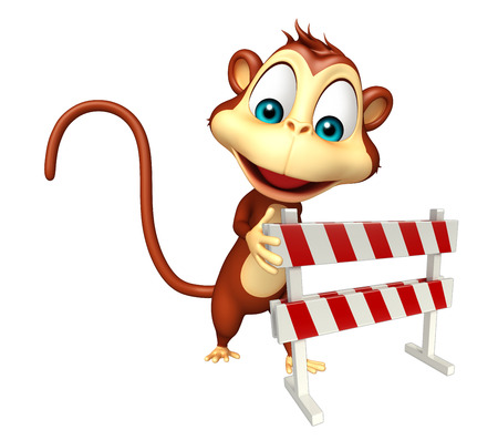 zoo traffic: 3d rendered illustration of Monkey cartoon character with baracade
