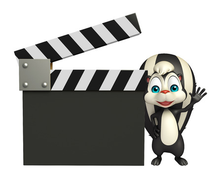clapboard: 3d rendered illustration of Skunk cartoon character with clapboard Stock Photo