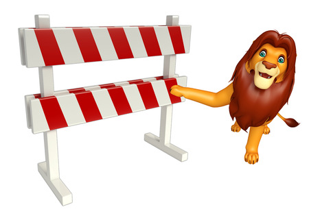 zoo traffic: 3d rendered illustration of Lion cartoon character with baracade Stock Photo