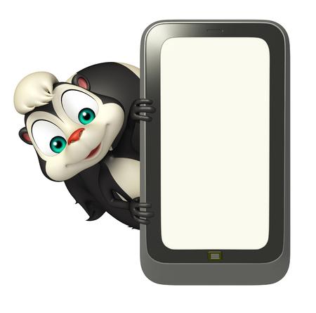 mofeta: 3d rindió la ilustración de personaje de dibujos animados de la mofeta con el móvil