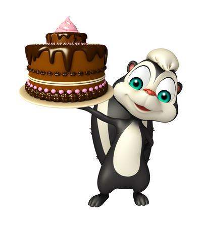 zorrillo: 3d rindió la ilustración de personaje de dibujos animados de la mofeta con la torta Foto de archivo