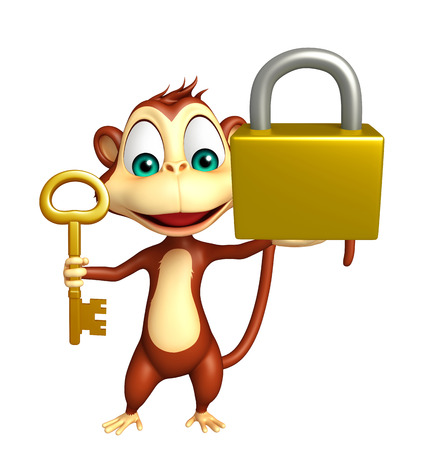 key lock: 3d rendered illustration of Monkey cartoon character with key and lock Stock Photo