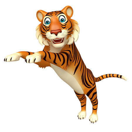 mammalia: 3d rendered illustration of jump Tiger cartoon character