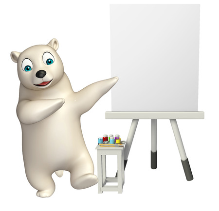 mammalia: 3d rendered illustration of Polar bear cartoon character with easel board Stock Photo