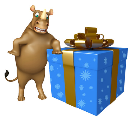mammalia: 3d rendered illustration of Rhino cartoon character with giftbox Stock Photo