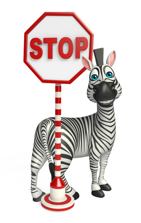 zoo traffic: 3d rendered illustration of Zebra cartoon character with stop sign