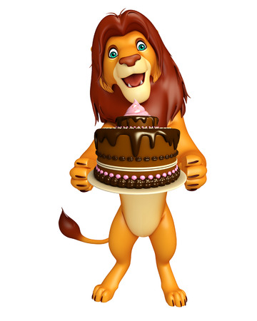3d lion: 3d rendered illustration of Lion cartoon character with cake