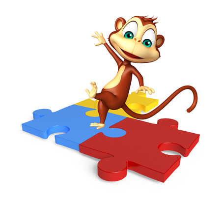 jig saw puzzle: 3d rendered illustration of Monkey cartoon character with puzzle