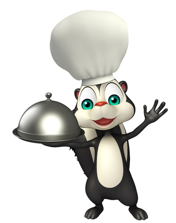 skunk: 3d rendered illustration of Skunk cartoon character with chef hat and cloche