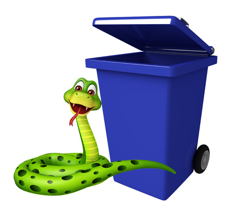 3d snake: 3d rendered illustration of Snake cartoon character with dustbin Stock Photo