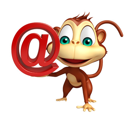 mammalia: 3d rendered illustration of Monkey cartoon character with at the rate sign