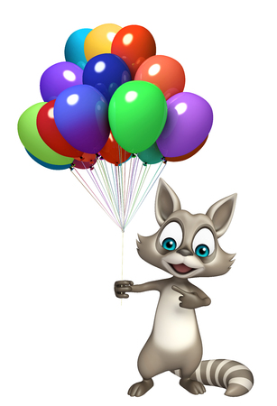 baloon: 3d rendered illustration of Raccoon cartoon character with baloon Stock Photo