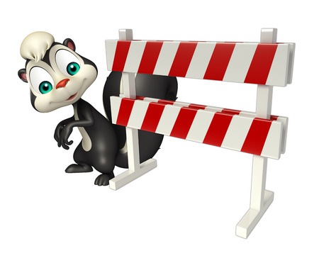 constuction: 3d rendered illustration of Skunk cartoon character with baracade