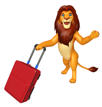 veg: 3d rendered illustration of Lion cartoon character with travel bag