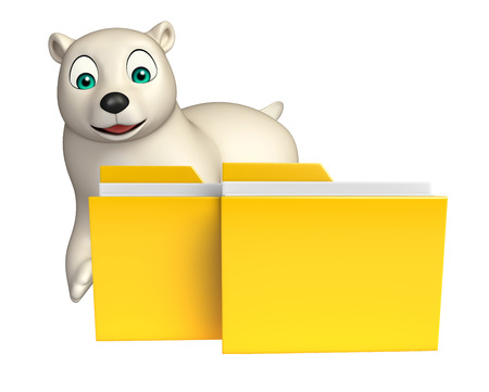 hunny: 3d rendered illustration of Polar bear cartoon character with folder