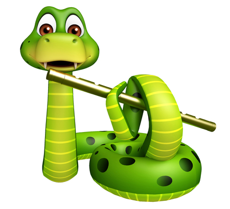 3d rendered illustration of Snake cartoon character with flute