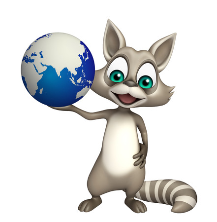 carnivora: 3d rendered illustration of Raccoon cartoon character with earth Stock Photo