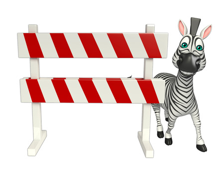 security lights: 3d rendered illustration of Zebra cartoon character with   baracade