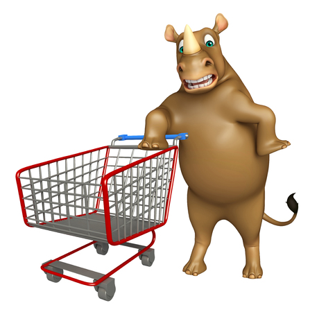 trolly: 3d rendered illustration of Rhino cartoon character with trolly