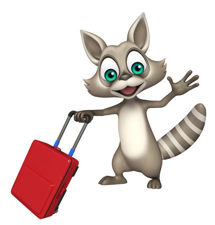 carnivora: 3d rendered illustration of Raccoon cartoon character with travel bag