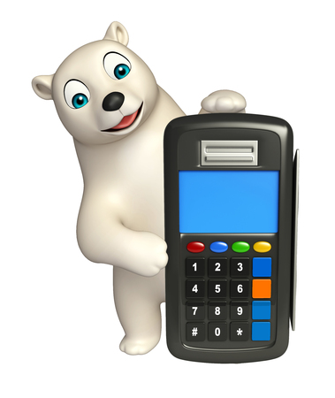 hunny: 3d rendered illustration of Polar bear cartoon character with swap machine