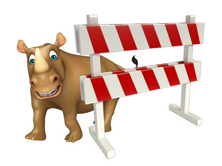 constuction: 3d rendered illustration of Rhino cartoon character with baracade Stock Photo
