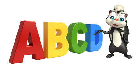 mofeta: 3d rindió la ilustración de personaje de dibujos animados con el signo de la mofeta abcd