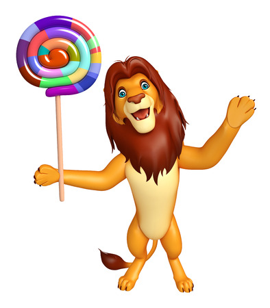 lollypop: 3d rendered illustration of Lion cartoon character with lollypop