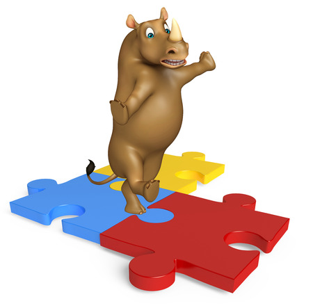 jig saw puzzle: 3d rendered illustration of Rhino cartoon character with puzzle