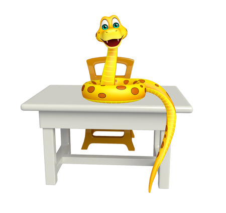 3d snake: 3d rendered illustration of Snake cartoon character with table and chair