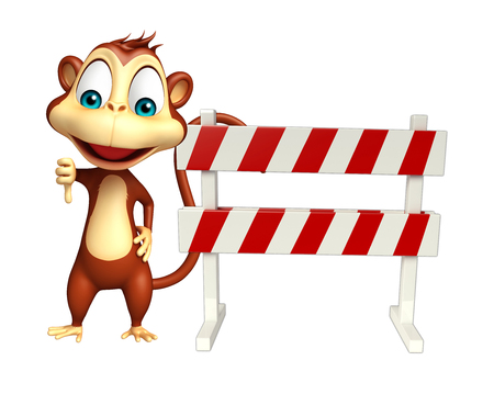 constuction: 3d rendered illustration of Monkey cartoon character with baracade