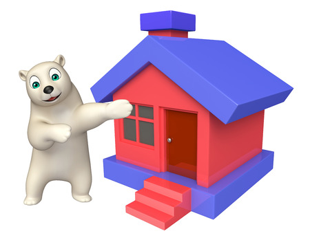 hunny: 3d rendered illustration of Polar bear cartoon character with home Stock Photo