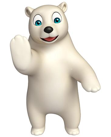 hunny: 3d rendered illustration of stop  Polar bear cartoon character Stock Photo