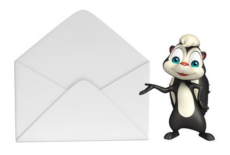 mofeta: 3d rindió la ilustración de personaje de dibujos animados de la mofeta con el correo