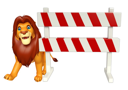 constuction: 3d rendered illustration of Lion cartoon character with baracade Stock Photo