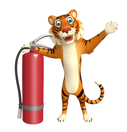 extinguishing: 3d rendered illustration of Tiger cartoon character with fire extinguishing