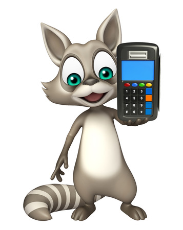 swipe: 3d rendered illustration of Raccoon cartoon character with swipe machine