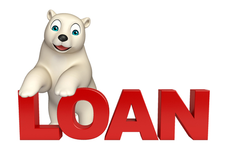 hunny: 3d rendered illustration of Polar bear cartoon character with loan sign Stock Photo