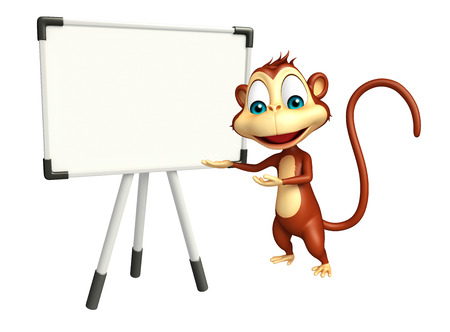 display board: 3d rendered illustration of Monkey cartoon character with display board