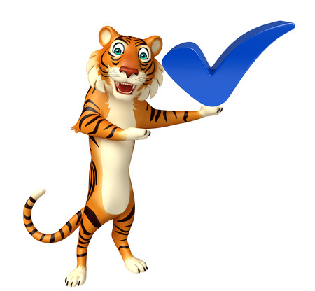 3d rendered illustration of Tiger cartoon character with right sign