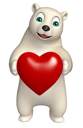 hunny: 3d rendered illustration of Polar bear cartoon character with heart Stock Photo