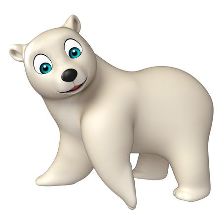 hunny: 3d rendered illustration of funny  Polar bear cartoon character