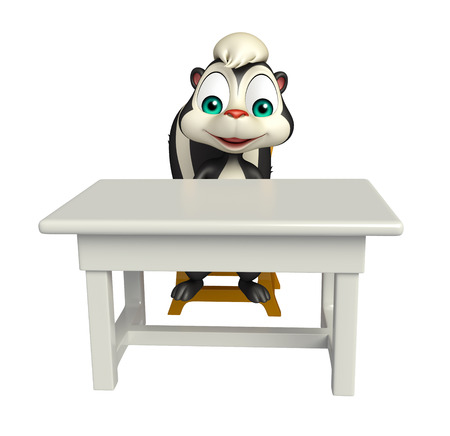 skunk: 3d rendered illustration of Skunk cartoon character with table and chair